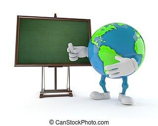 World globe character with blank blackboard