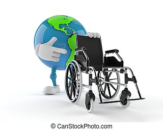World globe character with wheelchair