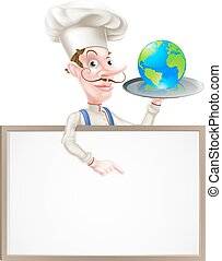 An illustration of a cartoon chef holding a tray with a world globe on it and pointing at a signboard. Could represent world cuisine