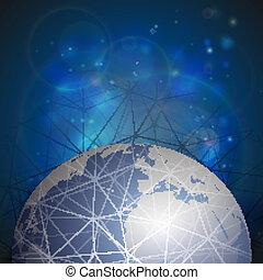 World globe connections network design, vector illustration