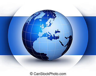 World globe design concept - Blue world globe design...