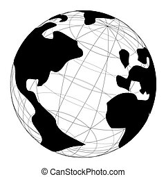 Design of black and white world globe