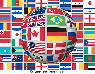 world., globe, drapeaux, fond, vector.