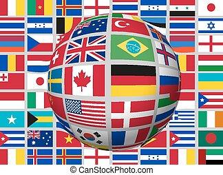 world., globe, drapeaux, fond, vector.