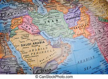 World globe focusing on Iraq, Saudia Arabia, Iran