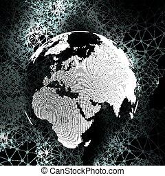 World globe, global network. Molecule structure, black background for communication, science vector illustration