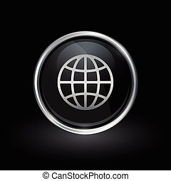 World globe icon inside round silver and black emblem