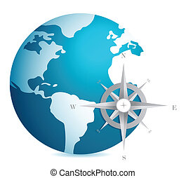 World globe illustration compass