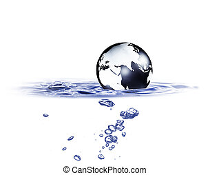 World globe in blue water