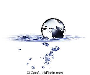 World globe in blue water