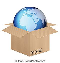 world globe in box on a white background.