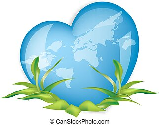 world globe in the shape of  heart symbol.