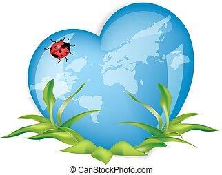 world globe in the shape of  heart symbol.