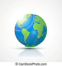 World Globe Map - America, Africa and Europe. Global communication concept