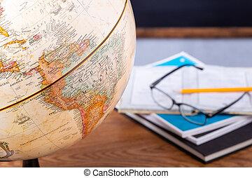 World Globe on a School Desk