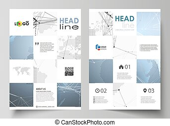 World globe on blue. Global network connections, lines and dots. The vector illustration of the editable layout of A4 format covers design templates for brochure, magazine, flyer, booklet, report.