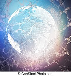 World globe on dark background with connecting lines and dots, polygonal linear texture. Global network connections, abstract futuristic geometric design, dig data technology digital concept.