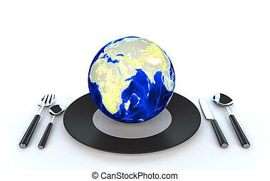 World globe on dish 3d illustration