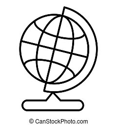 World globe on stand line icon. Vector icon isolated on white. Flat outline style.