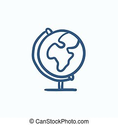 World globe on stand sketch icon.