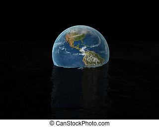 world globe on water