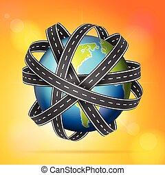World globe roads