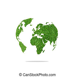 World globe shape of green grass isolated on white background