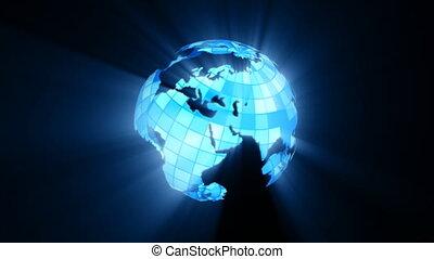 World globe shining and spining