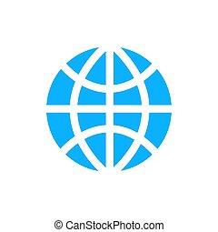 World globe simple blue icon on white