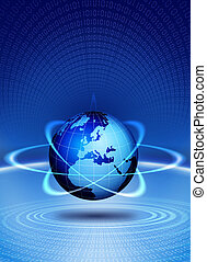 World globe technological action. Blue worlg globe magic...