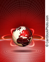 World globe technological action. Global news design...