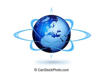 World globe travel concept. Blue world globe illustration.