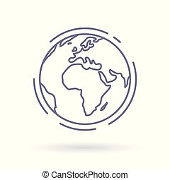 World globe vector icon. Simple thin line earth sign.