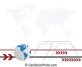 World globe with arrows