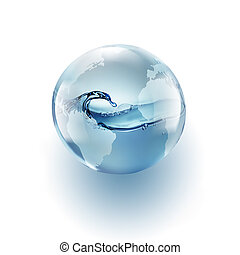 world globe with clean water inside