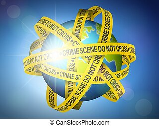 World globe with crime scene tape on sky background. Vector illustration.