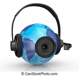 world globe with headphones and webcam - one world globe...