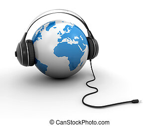 World globe with headphones - white and blue world globe...