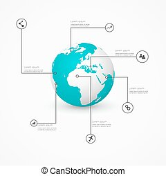 World globe with infographic icons, Business software and social media networking service concept
