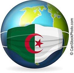 World globe with medical mask Algeria flag