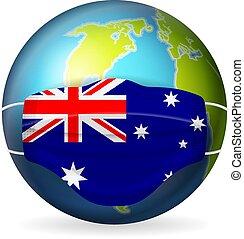 World globe with medical mask Australia flag