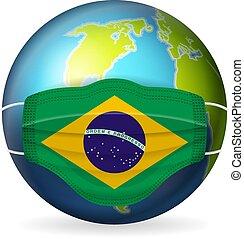World globe with medical mask Brazil flag