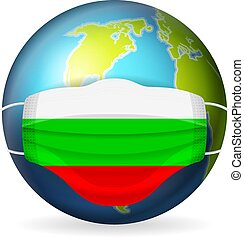 World globe with medical mask Bulgaria flag