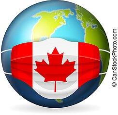World globe with medical mask Canada flag