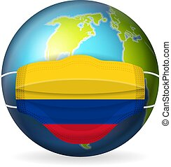 World globe with medical mask Colombia flag