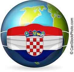 World globe with medical mask Croatia flag