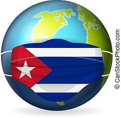 World globe with medical mask Cuba flag