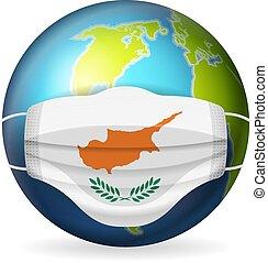 World globe with medical mask Cyprus flag
