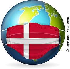 World globe with medical mask Denmark flag