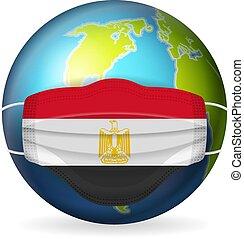 World globe with medical mask Egypt flag